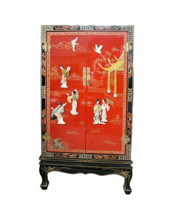 armoire chinoise laqu e rouge avec incrustations 2 portes h122cm. Black Bedroom Furniture Sets. Home Design Ideas