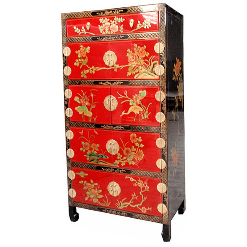 armoire chinoise laqu e rouge 8 portes 1 tiroir h141cm. Black Bedroom Furniture Sets. Home Design Ideas