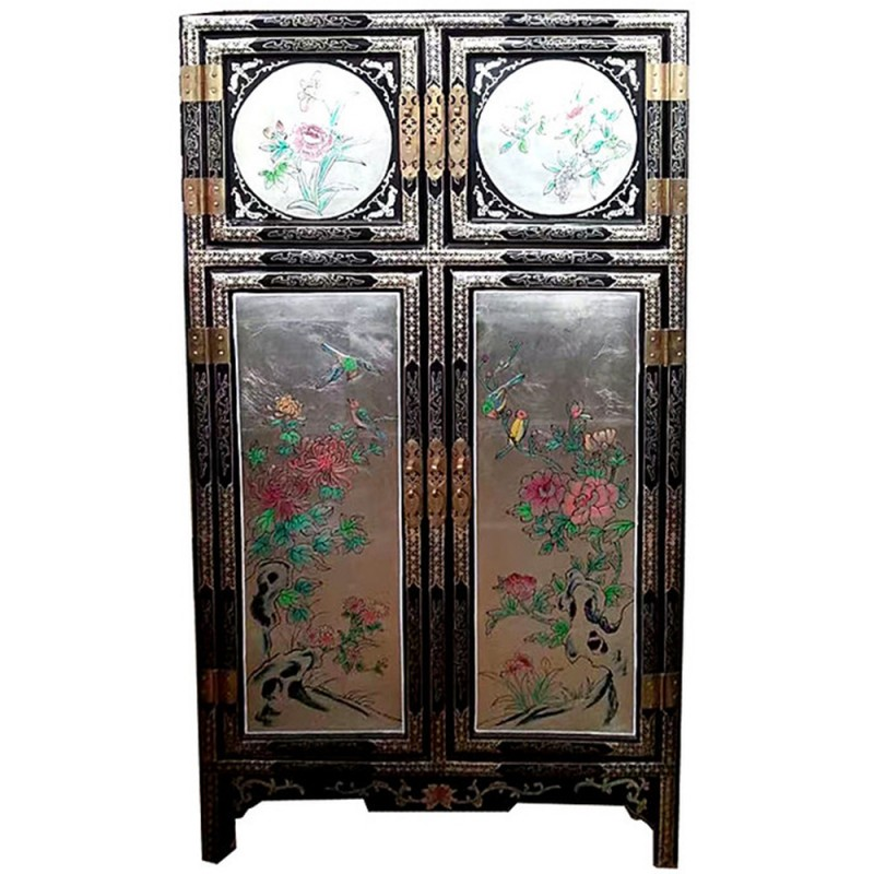 armoire chinoise laqu e argent e 4 portes h170cm. Black Bedroom Furniture Sets. Home Design Ideas