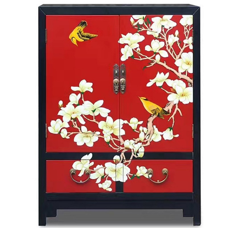 armoire chinoise laqu e 2 portes 2 tiroirs rouge h100cm. Black Bedroom Furniture Sets. Home Design Ideas