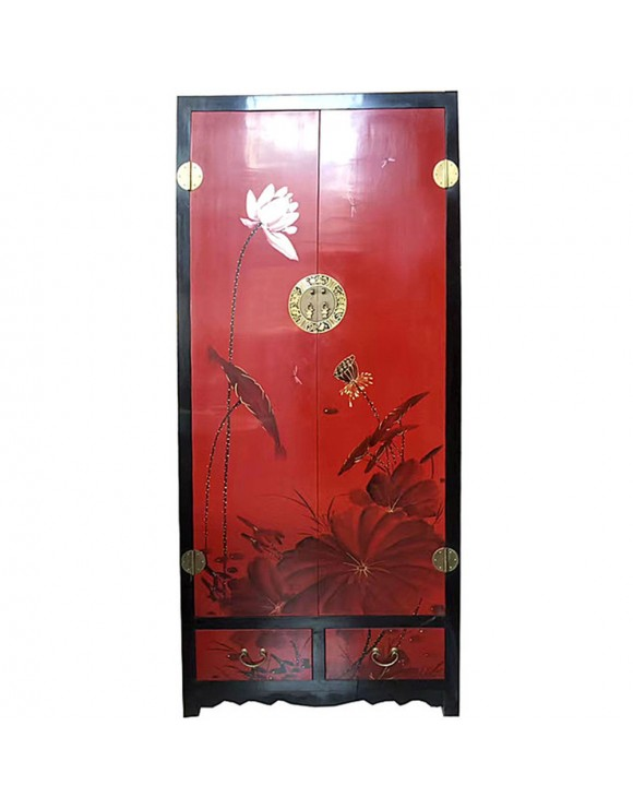 armoire chinoise laqu e 2 portes 2 tiroirs haute rouge h190cm. Black Bedroom Furniture Sets. Home Design Ideas