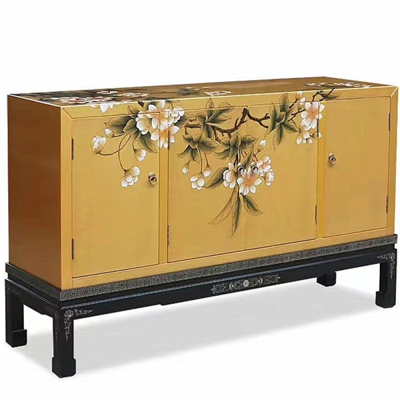 buffet chinois laqu jaune 4 portes l135cm. Black Bedroom Furniture Sets. Home Design Ideas