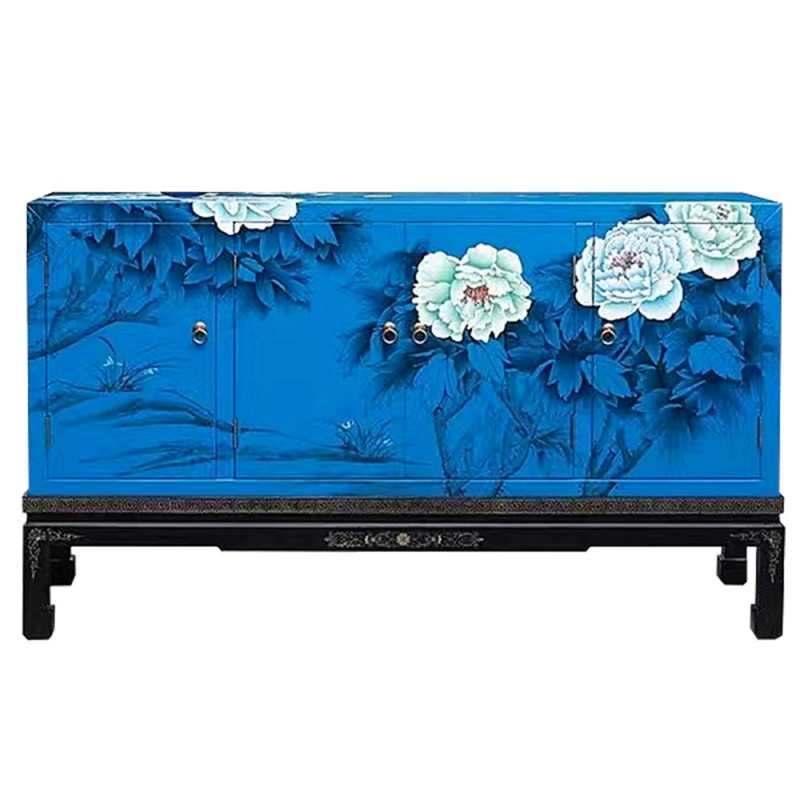 buffet chinois laqu bleu 4 portes l135cm. Black Bedroom Furniture Sets. Home Design Ideas