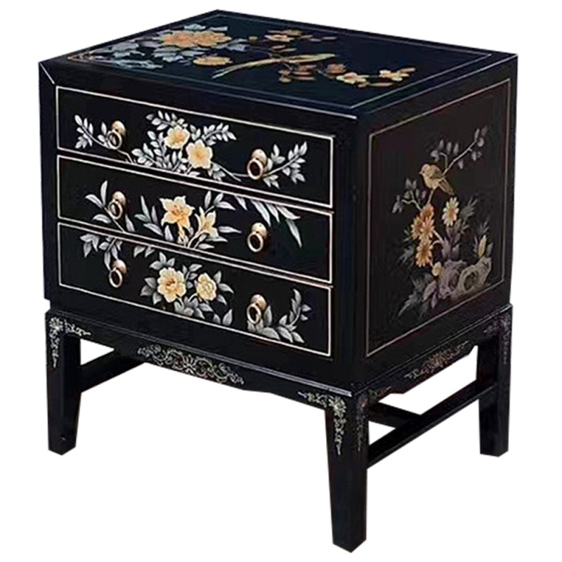 chevet chinois laqu noir 3 tiroirs. Black Bedroom Furniture Sets. Home Design Ideas