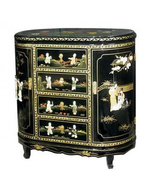 commode chinoise laqu e 2 portes 4 tiroirs avec incrustations. Black Bedroom Furniture Sets. Home Design Ideas