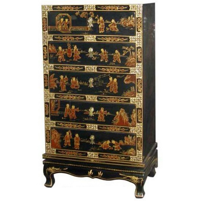 Commode chinoise laqu e noire 5 tiroirs avec incrustations for Cabinet chinois meuble