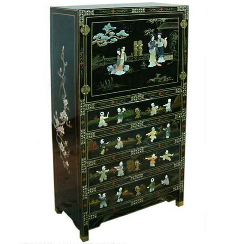 commode chinoise laqu e noire 2 portes 4 tiroirs avec incrustations. Black Bedroom Furniture Sets. Home Design Ideas
