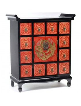 commode chinoise laqu e temple 2 portes 12 tiroirs. Black Bedroom Furniture Sets. Home Design Ideas