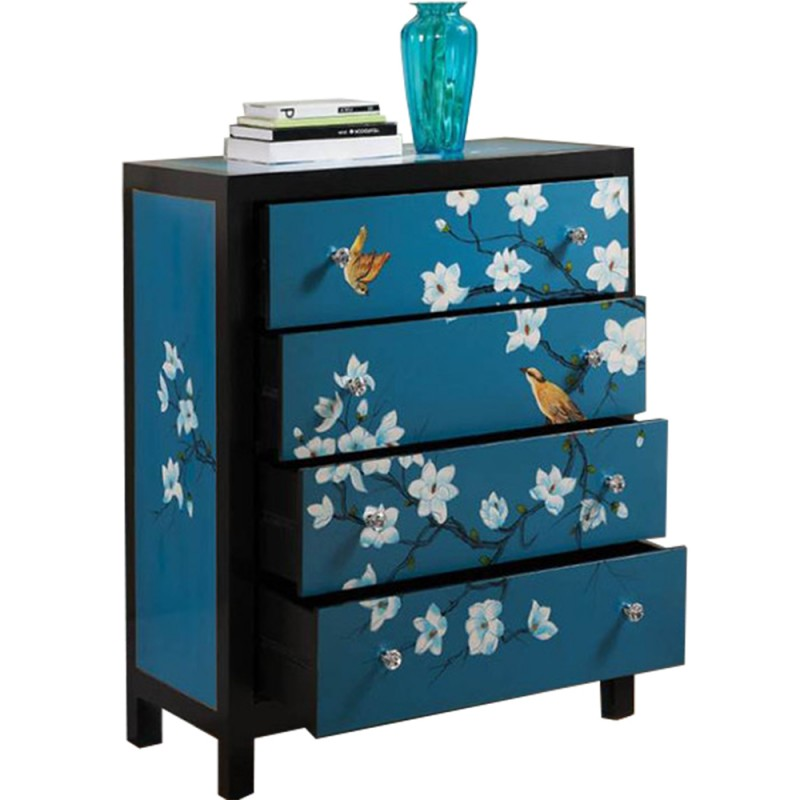 commode chinoise laqu e bleue 4 tiroirs h120cm. Black Bedroom Furniture Sets. Home Design Ideas