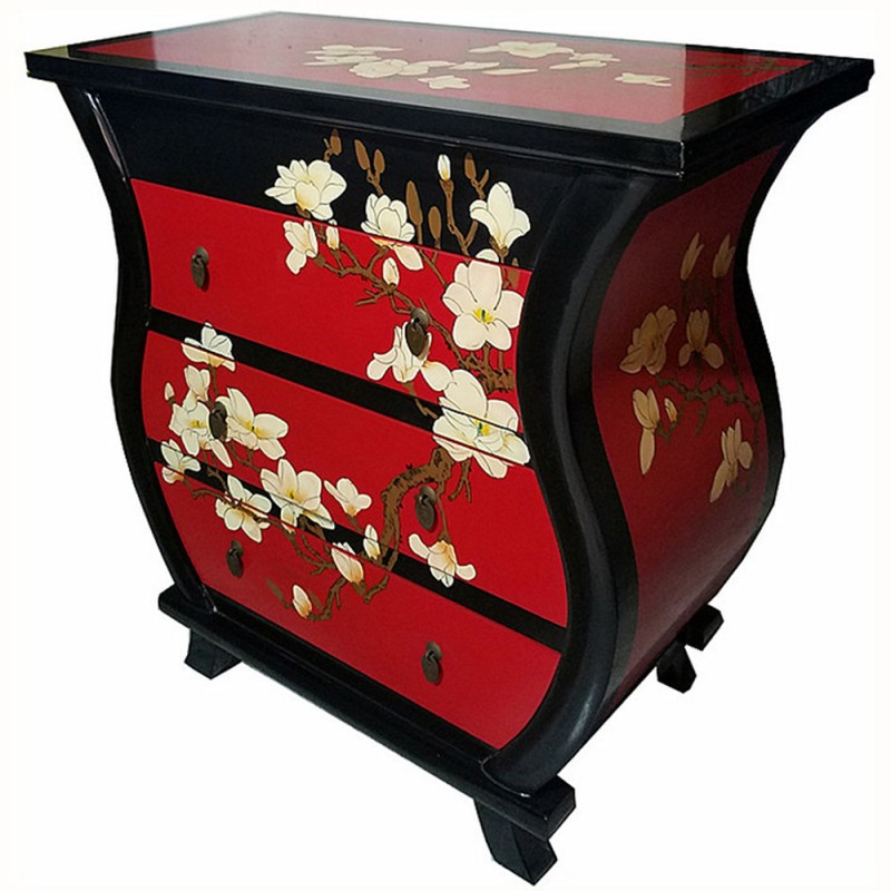 commode chinoise laqu e rouge 3 tiroirs oblong. Black Bedroom Furniture Sets. Home Design Ideas
