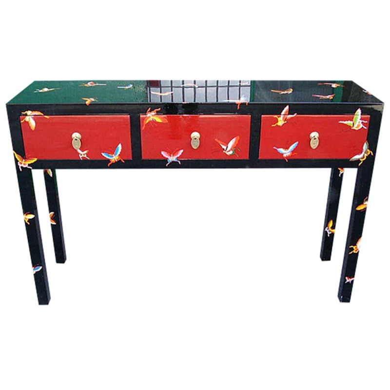 console chinoise laqu e noire et rouge 3 tiroirs. Black Bedroom Furniture Sets. Home Design Ideas