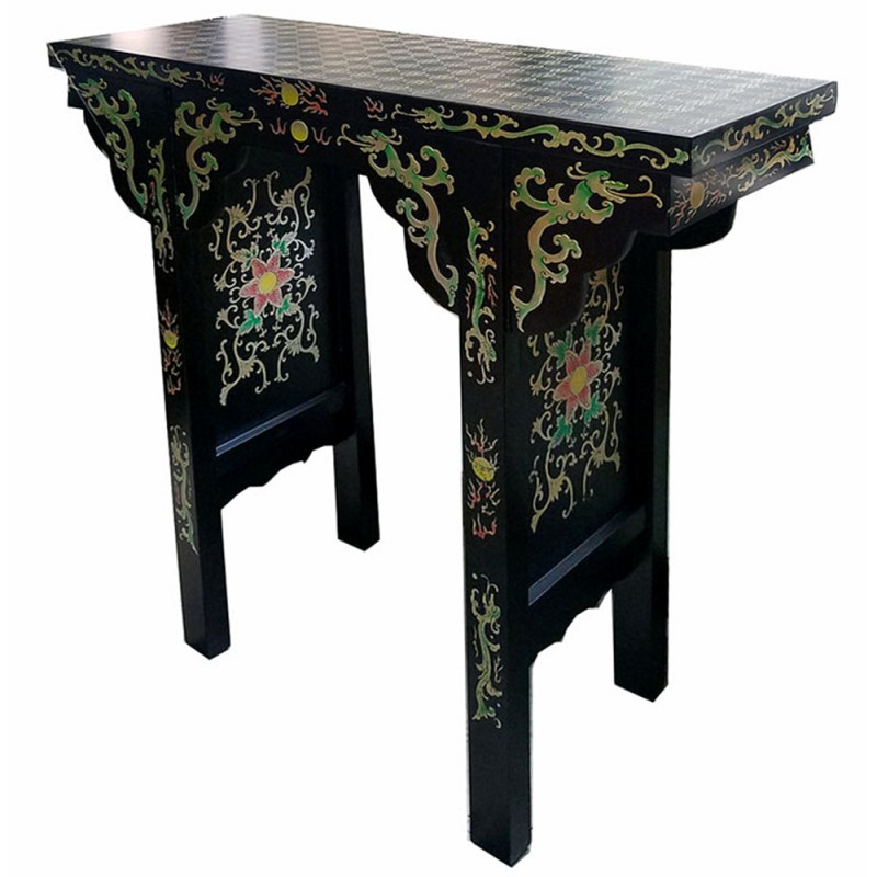 console chinoise laqu e noire l100cm. Black Bedroom Furniture Sets. Home Design Ideas