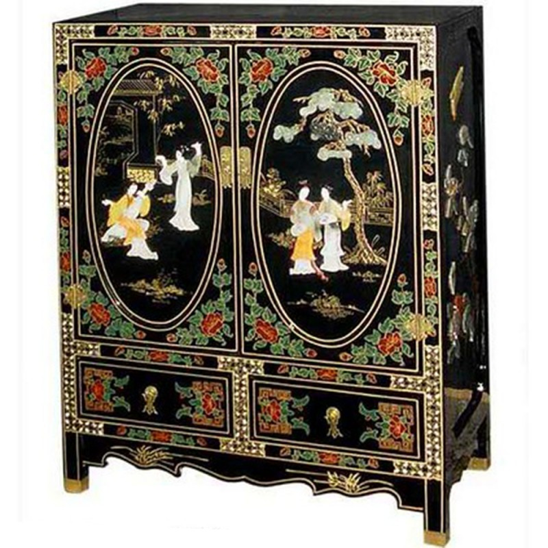 meuble d 39 appoint chinois laqu noir 2 portes 2 tiroirs avec incrustations. Black Bedroom Furniture Sets. Home Design Ideas