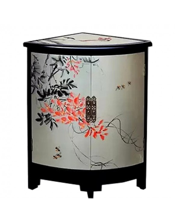 meuble d 39 appoint chinois laqu argent 2 portes meuble d. Black Bedroom Furniture Sets. Home Design Ideas