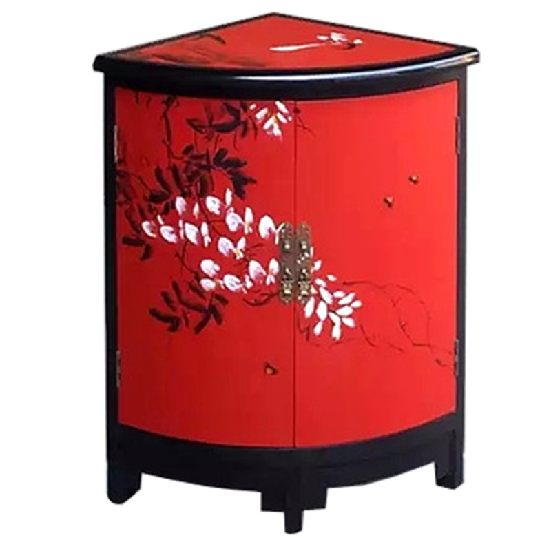 meuble d 39 appoint chinois laqu rouge 2 portes meuble d. Black Bedroom Furniture Sets. Home Design Ideas