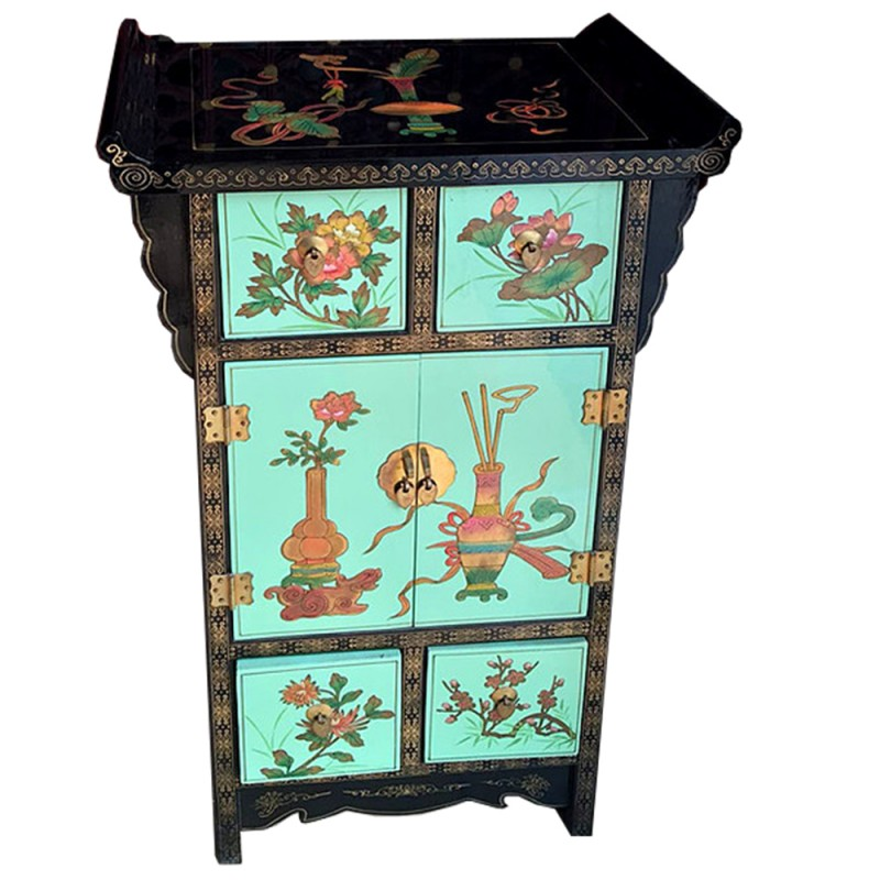 meuble d 39 appoint chinois laqu vert 2 portes 4 tiroirs temple. Black Bedroom Furniture Sets. Home Design Ideas