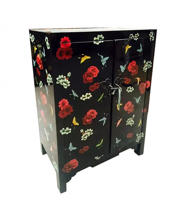 meuble d 39 appoint chinois laqu 2 portes noir. Black Bedroom Furniture Sets. Home Design Ideas