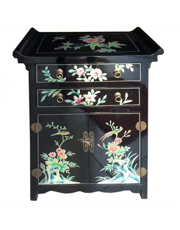 meuble d 39 appoint chinois laqu noir 2 portes 2 tiroirs temple. Black Bedroom Furniture Sets. Home Design Ideas