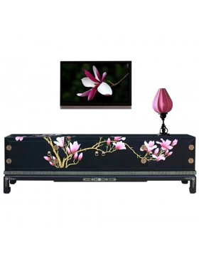 meuble tv chinois laqu noir 4 portes. Black Bedroom Furniture Sets. Home Design Ideas