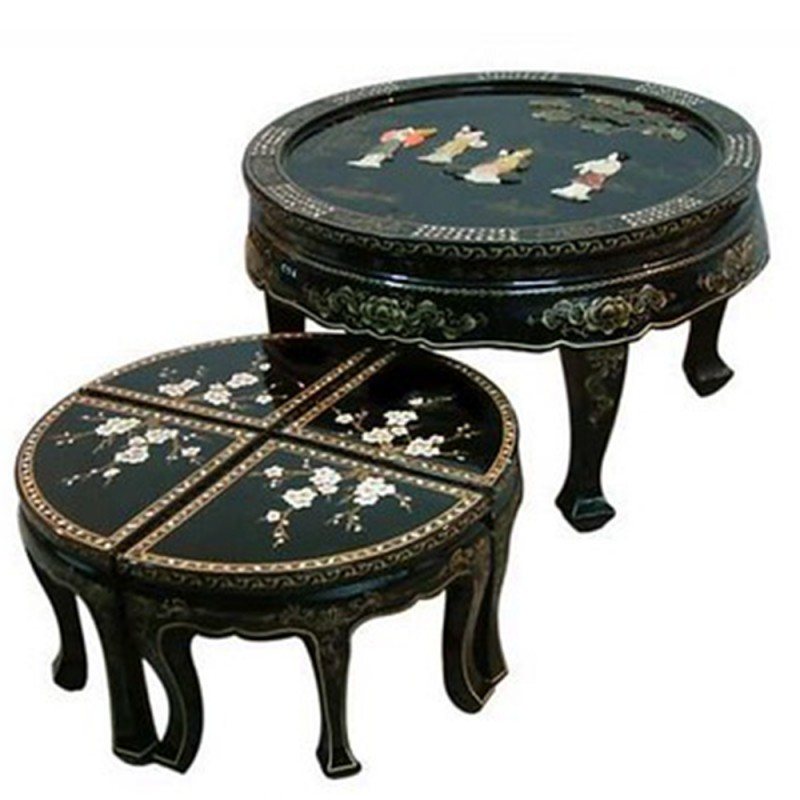 table basse chinoise laqu e et ses 4 tabourets avec incrustations. Black Bedroom Furniture Sets. Home Design Ideas