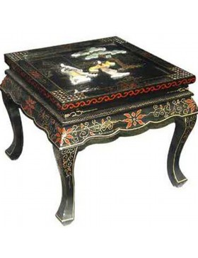 Table basse chinoise laqu e carr e avec incrustations - Table basse carree laquee ...