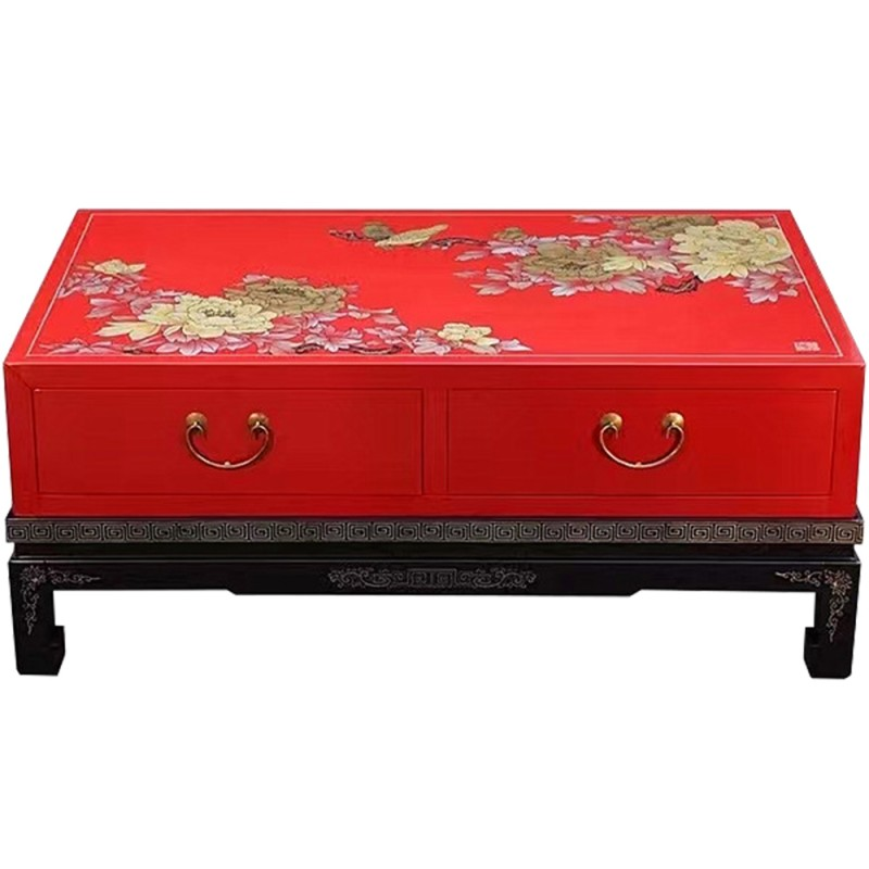 table basse chinoise laqu e rouge 2 tiroirs. Black Bedroom Furniture Sets. Home Design Ideas