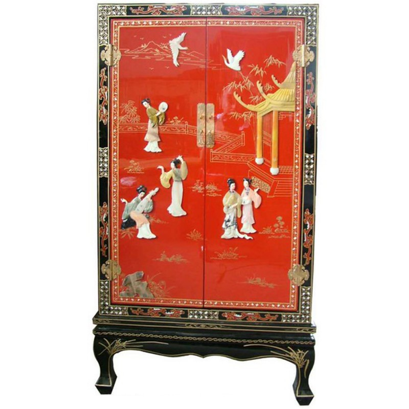 armoire chinoise laqu e noire avec incrustations 2 portes h122cm. Black Bedroom Furniture Sets. Home Design Ideas