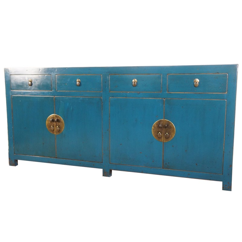buffet chinois bleu 4 portes 4 tiroirs. Black Bedroom Furniture Sets. Home Design Ideas