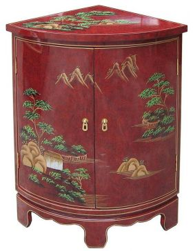 Meuble d'angle chinois laqué rouge - meuble chinois laqué