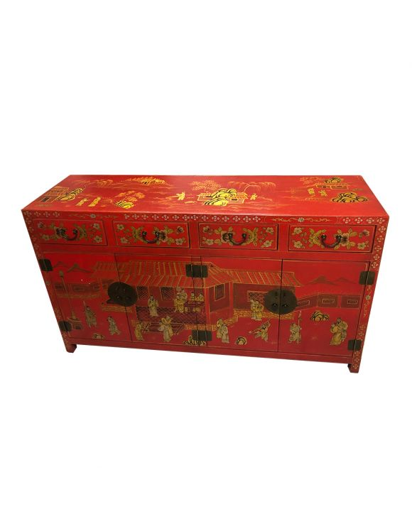 Buffet chinois cuir rouge