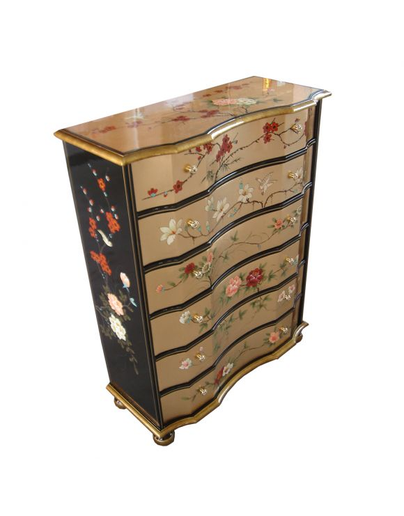 Commode chinoise laquée 6 tiroirs - meuble chinois laqué