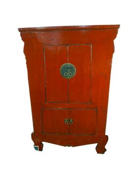 Armoire chinoise rouge ancienne restaurée
